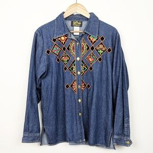 Bob Mackie | Vintage Retro Embroidered Boho Shirt
